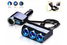 Foto 5 - Roztrojka autozapalovače s LED světlem a USB