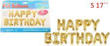 Balónky Happy Birthday S 17´´ Zl…