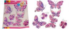 3D samolepky na zeď růžoví motýl…