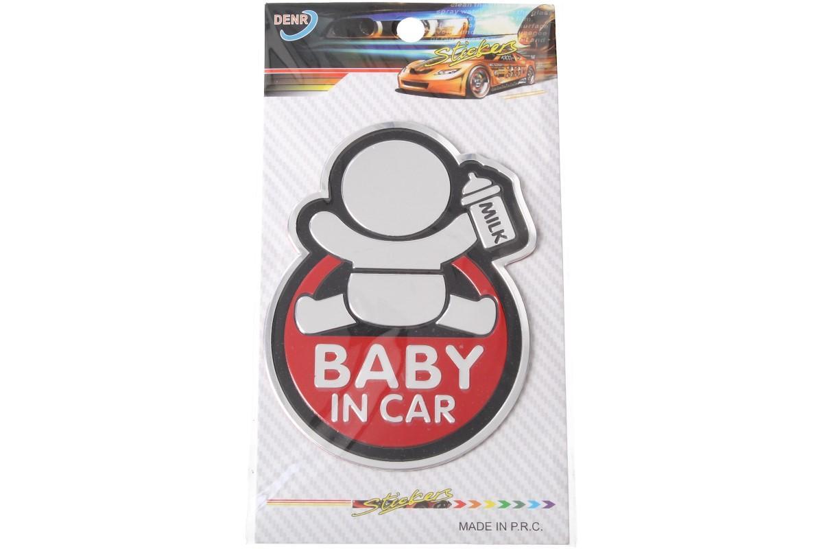 Kovová samolepka BABY IN CAR 7cm x 10cm