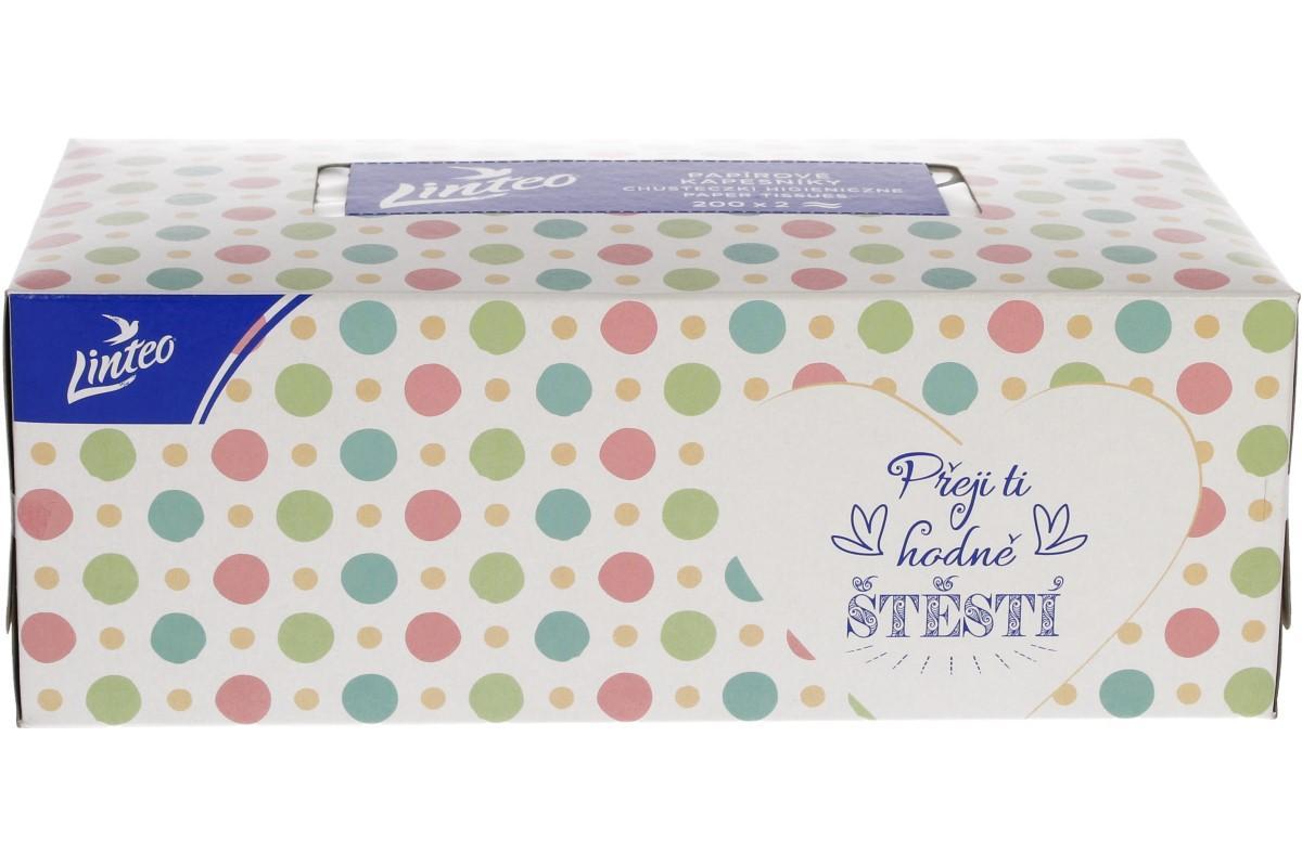Linteo papírové kapesníčky v krabičce 2-vrstvé 200 ks
