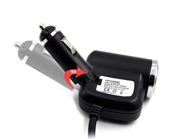 Roztrojka autozapalovače s LED světlem a USB