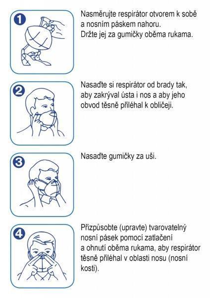 Respirátor FFP2/KN95, respirační rouška maskáčová modrá