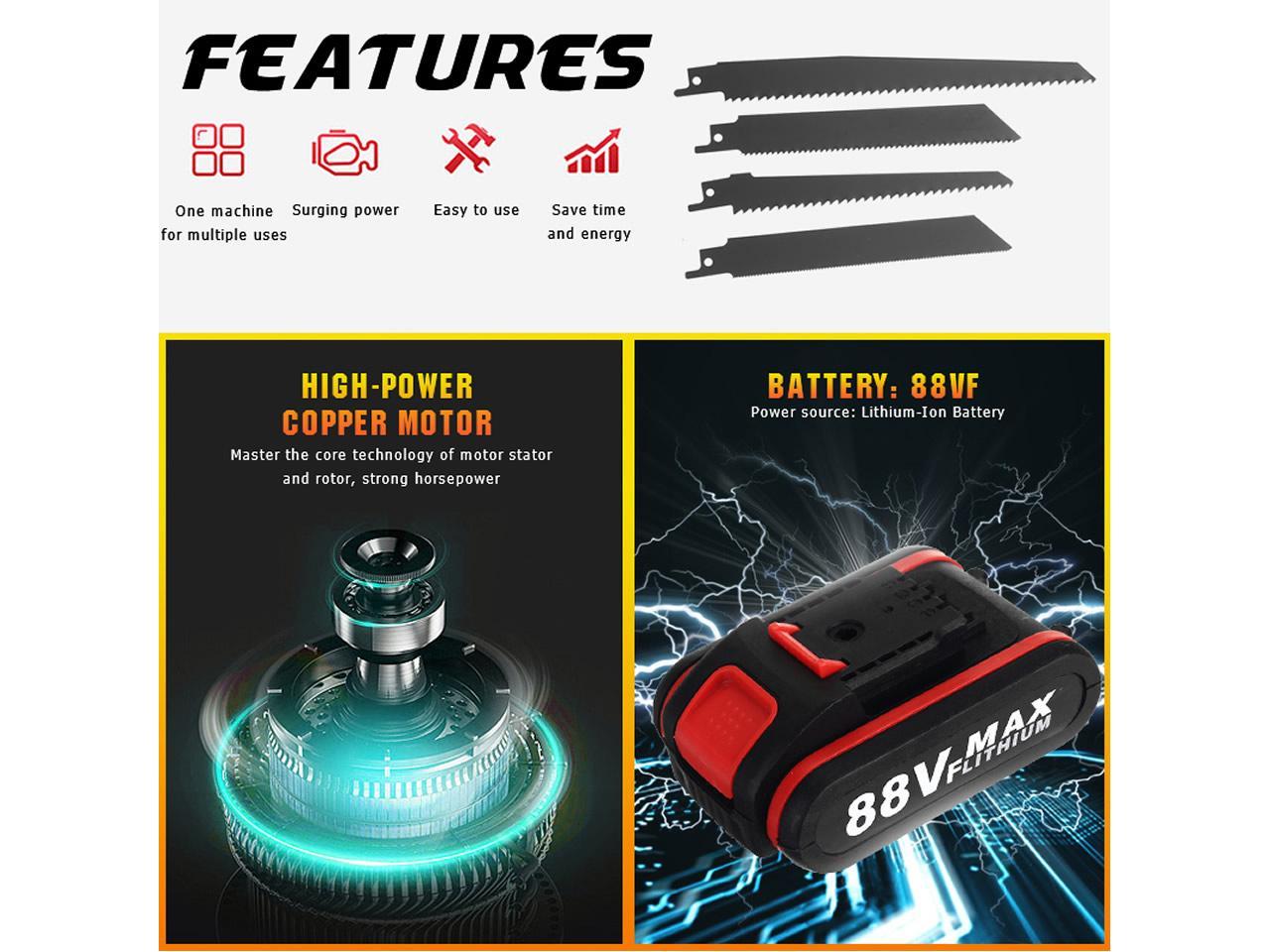 Aku přímočará elektrická pila Ocaska včetně 2x baterie 88Vf