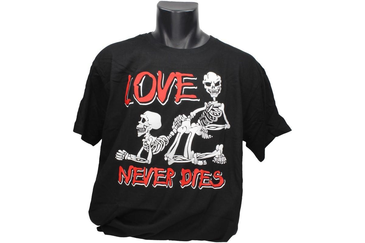 Foto 1 - Tričko Love never dies - aneb láska nikdy neumírá, je vhodné pro každodenní nošení nebo do společnosti, bavlněné tričko má kvalitní potisk