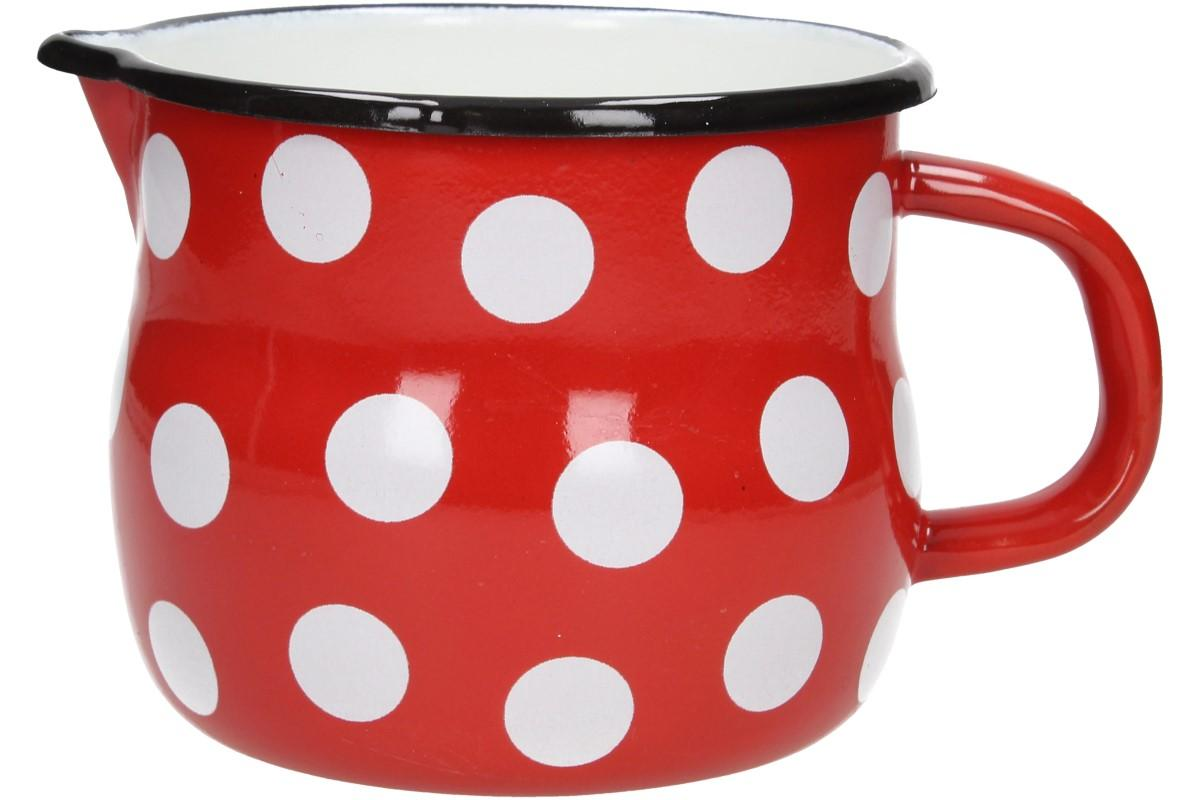 Foto 1 - Hrnek smalt červený puntík BELLY 12 CM - Doporučujeme pro všechny, kdo má rád extrémnně hodně čaje v jednom hrnku na jedno uvaření, kvalitní smalt, pěkný vzhled a super cena!