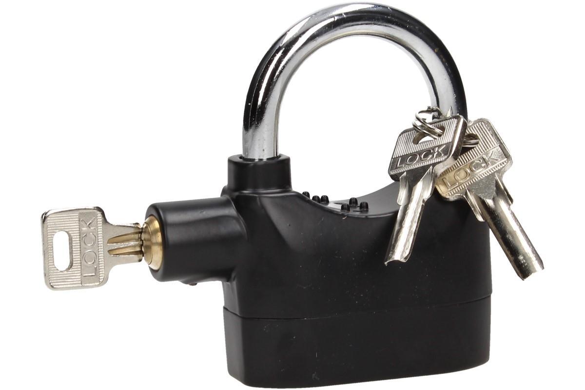 Foto 1 - Bezpečnostní zámek s alarmem - tenhle zámek je nejen masivní, ale má v sobě zabudovaný alarm, který Vás zvukovým signálem upozorní v případě neoprávněné manipulace se zámkem.