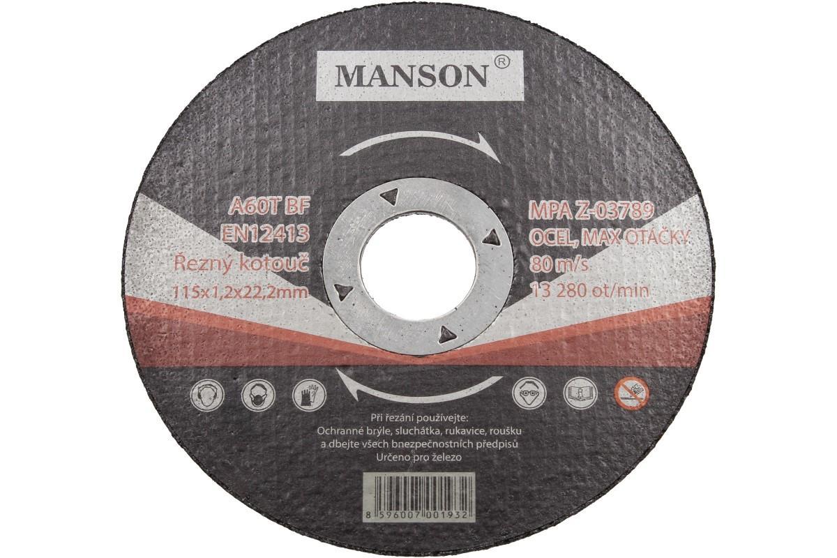 Foto 1 - Řezný kotouč Manson 115 x 1,2 x 22,2 - kvalitně řeže a málo ubývá. Kvalitní řezný kotouč pro každodenní práci. Využijte naší slevu ještě dnes!
