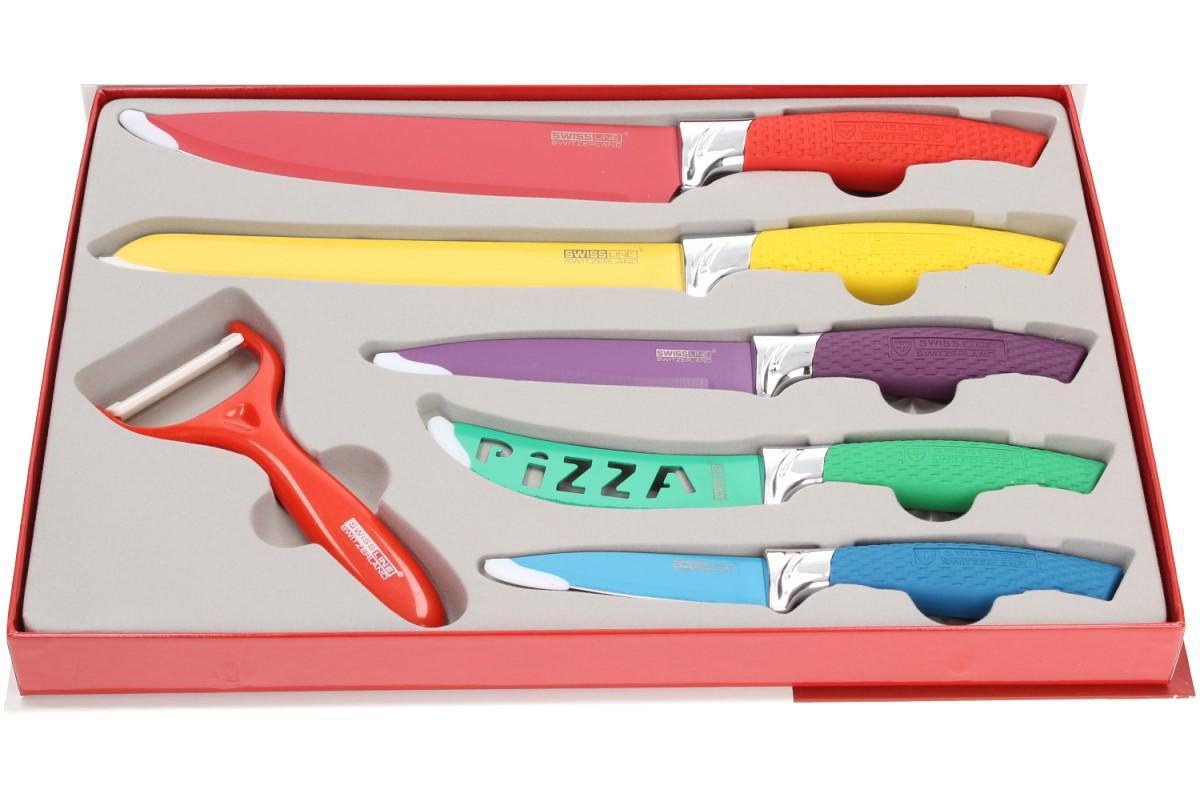 Foto 1 - Sada 6ti nožů SWITZNER -  z kvalitní oceli s nepřilnavou povrchovou úpravou a antibakteriální vrstvou, se kterou budete krájet jako opravdový šéfkuchař a jako bonus škrabka ZDARMA