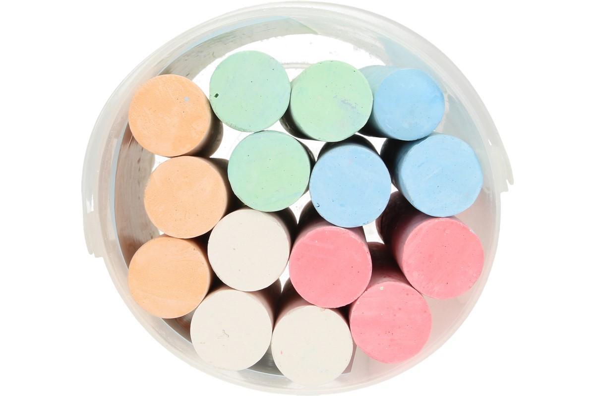 Foto 1 - Křídy velké kulaté barevné 15ks - kompaktní barevné velké křídy k dočasnému označení různých materiálů a k malování na chodníku, tabuli, zdi a všude tam kde je dovoleno.