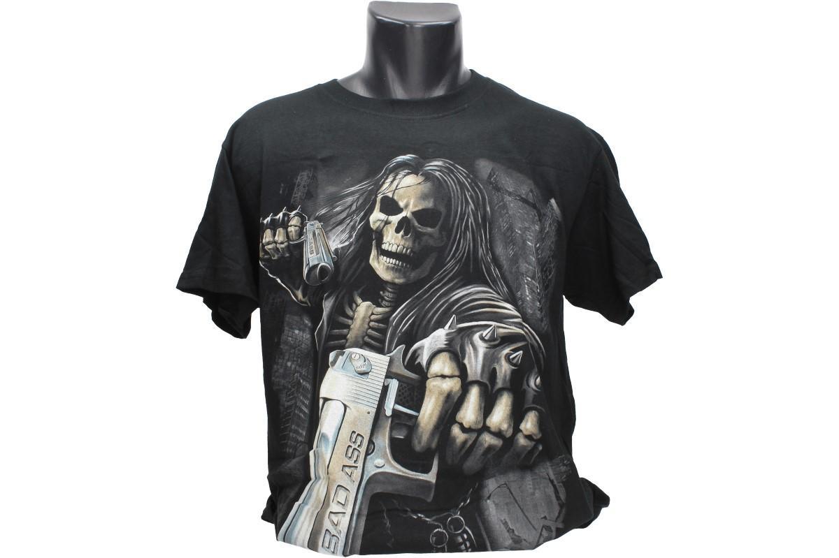 Foto 1 - Tričko kostlivec BAD ASS - pro každodenní nošení a potěšení Vás i Vašeho okolí, kvalitní obrázek na bavlněném tričku, vhodné nejen na motorku!