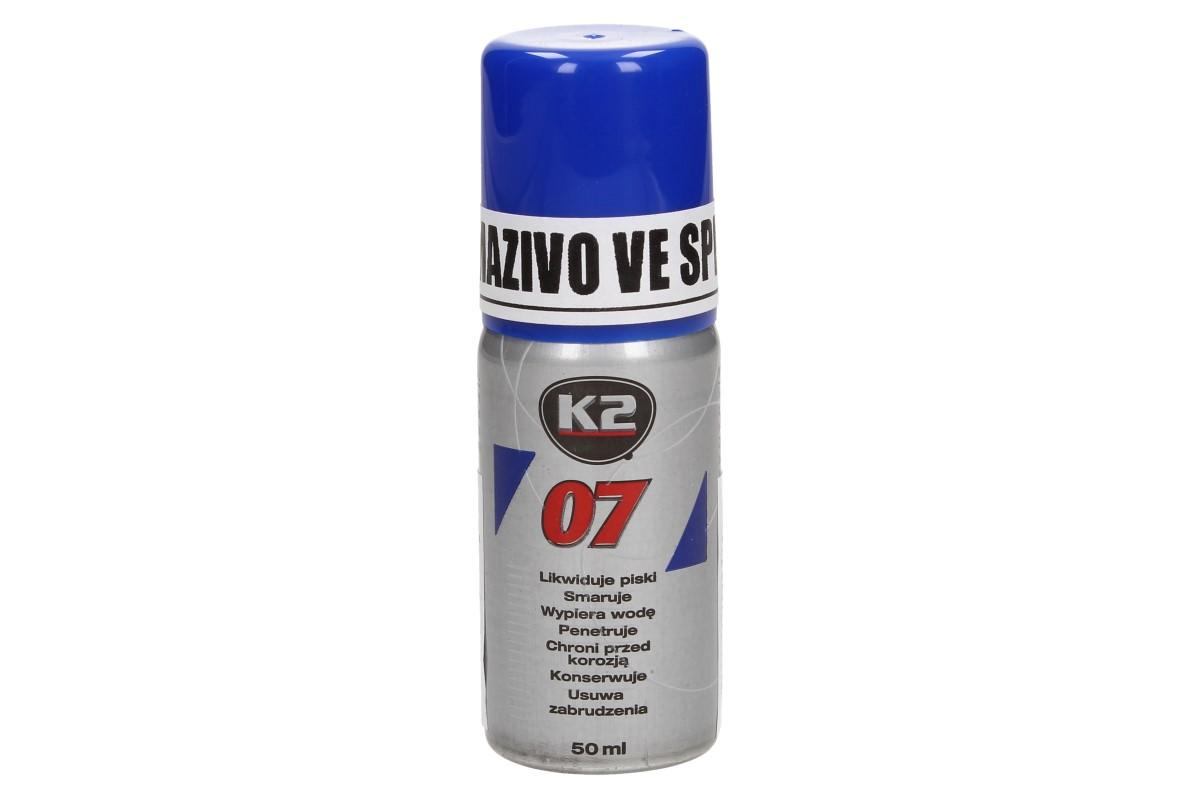 Foto 1 - K2 07 50 ml - mazivo ve spreji je kvalitní, univerzální prostředek do vaší kutilský dílny. Důkladně proniká a maže části, které pak urychlí a zefektivní práci. Mazivo je ideální sprej na auta proti korozi.