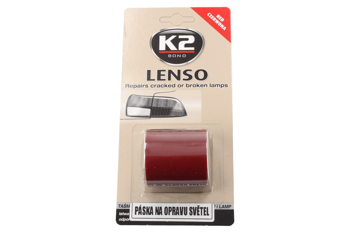 Foto 1 - K2 LENSO - červená opravná páska pro opravu světel VELICE PEVNÁ samolepící fólie. Je velmi odolávající povětrnostním vlivům po celý, dlouhý rok.