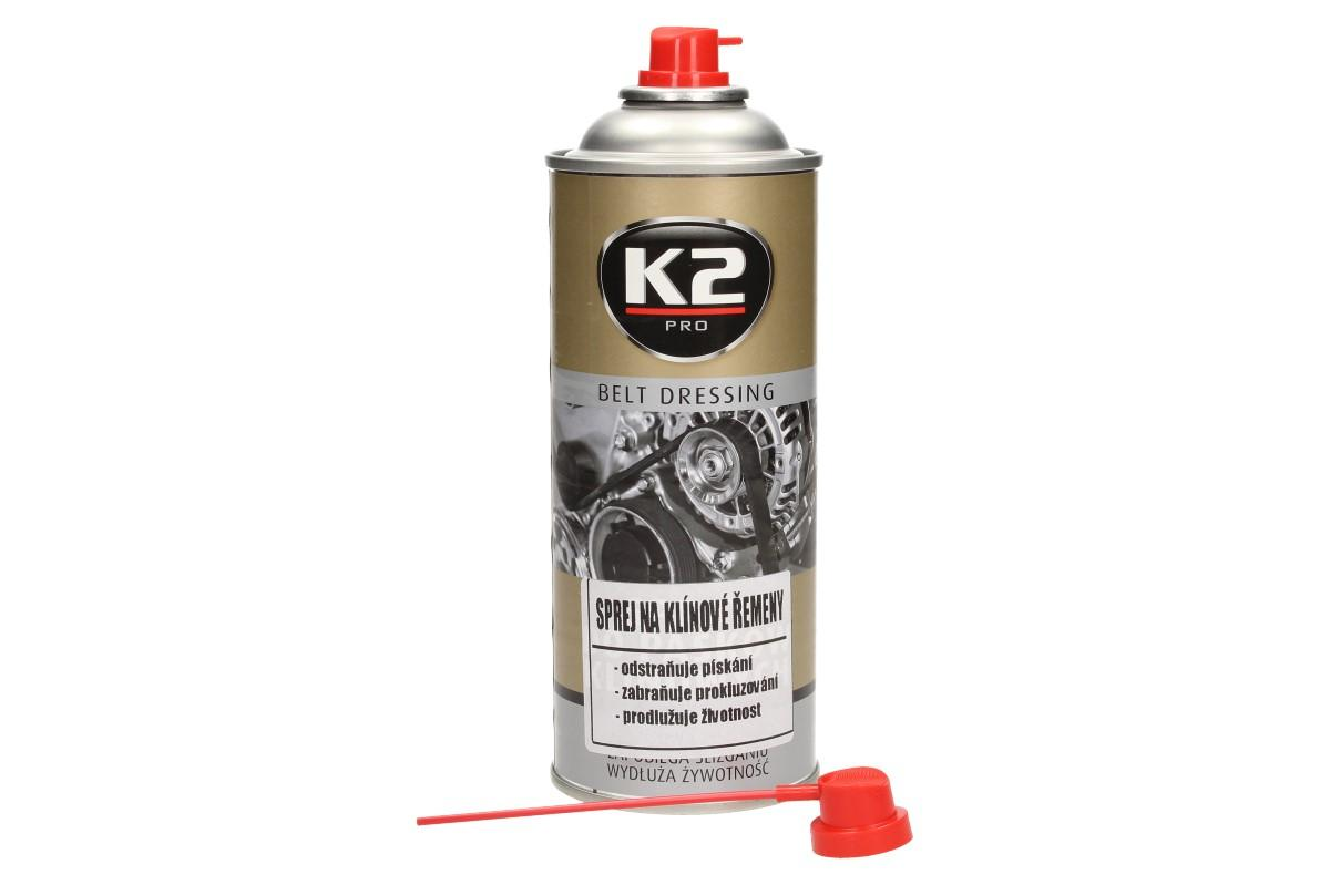 Foto 1 - K2 sprej na klínové řemeny 400 ml Vám účinně odstraní škodlivý hluk způsobený stárnutím klínových řemenů a dokonce je sprej chrání i před vysycháním, prokluzováním a prasknutím.