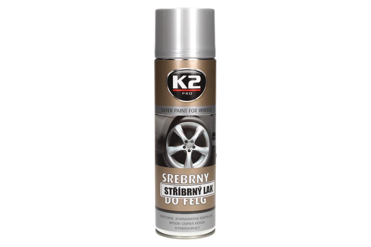 Foto 1 - K2 stříbrný lak na disky kol ve spreji 500 ml je ideální na to, aby ochránil vaše disky kol proti korozi a působení mechanických činitelů. Lak je vhodný pro nástřik jakýkoliv kovů, plastů a ´jiných povrchů.