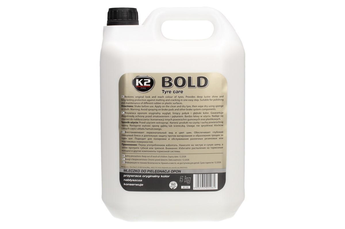 Foto 1 - K2 BOLD 5 l - prostředek na ošetření pneumatik je vysoce kvalitní preparát k leštění pneumatik. Dlouhodobě ochrání proti zmatnění, blednutí a praskání.
