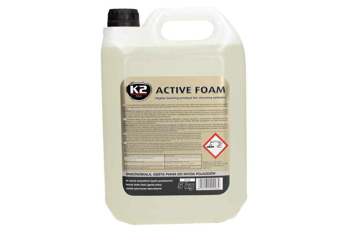 Foto 1 - K2 ACTIVE FOAM 5 l - aktivní pěna je kvalitní, vysoce pěnící prostředek. K2 Aktivní pěna vyčistí všechny druhy laků, umělohmotných částí i další povrchy vozidla. Velké balení 5 L.