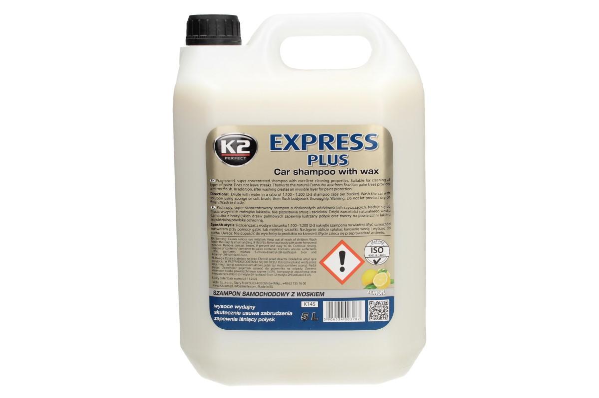 Foto 1 - K2 EXPRESS PLUS 5 l - šampon s voskem je EXTRÉMNĚ účinný koncentrovaný šampon. Odstraní nečistoty z vašeho vozu a důkladně odstraní znečištění od hmyzu a dehtu.