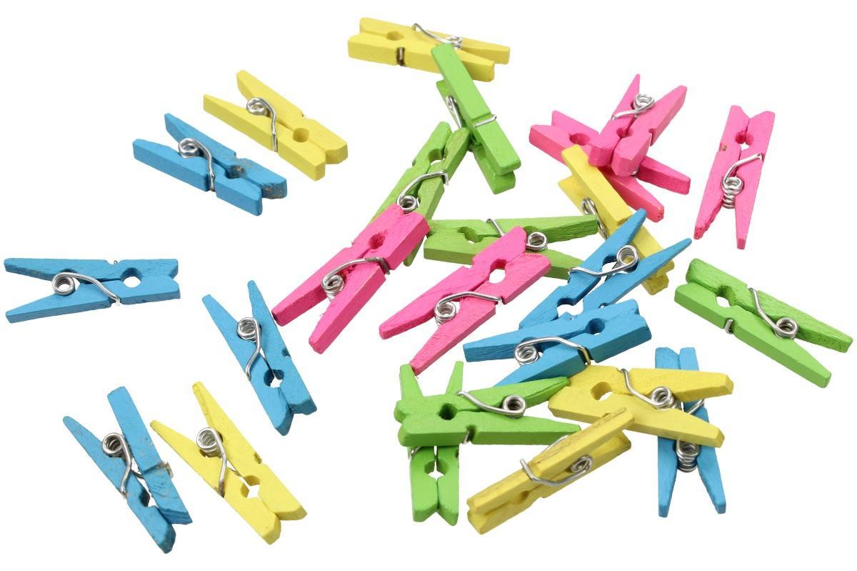 Foto 1 - Dřevěné barevné mini kolíčky sada 25 kusů - Malinkaté kolíčky jsou ideální pro malé kutily, např. do výtvarné výchovy na obrázky nebo kolíčky můžete použít na přikolíčkování různých květin a rostlin.