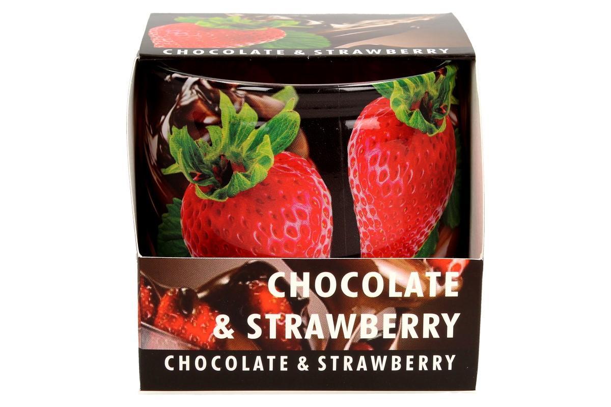 Foto 1 - Vonná svíčka čokoláda a jahody dodá každému prostoru vůni domova, harmonii, relaxační atmosféru a pohlazení vaší nálady. Během chvíle vyvoní váš domov, kancelář i pracovnu. Svíčka vydrží hořet až 30 hodin.