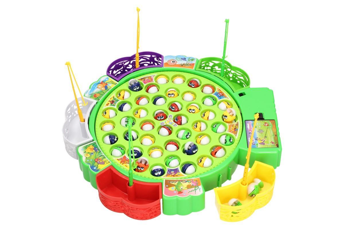 Foto 1 - Pohyblivá rybářská hra pro 5 lidí Ulov co nejvíce rybiček do svého košíčku a staň se vítězem. Pohyblivá hra s melodií pro celou rodinu. 45 barevných rybiček a 5 prutů.