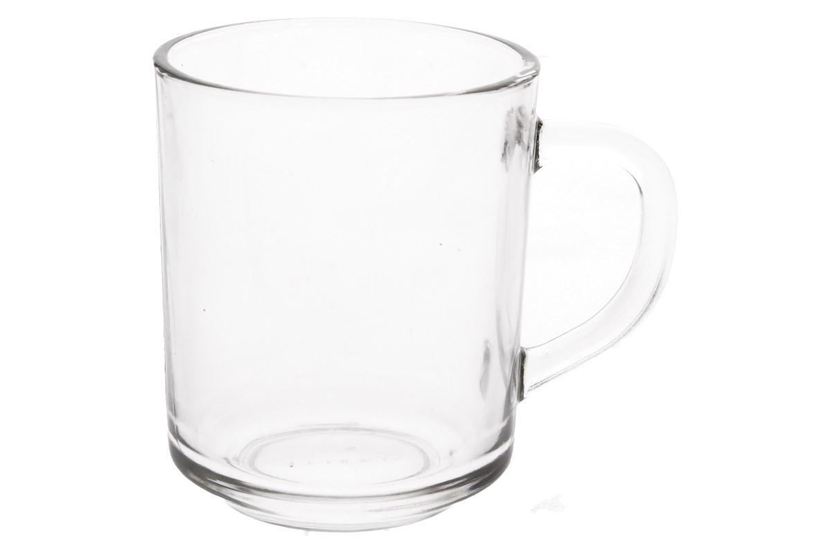 Foto 1 - Hrnek s uchem standard skleněný 250 ml kvalitní, pevné sklo s praktickým tvarem a zaobleným uchem pro lepší držení. Oválný, skleněný hrnek je ideální na párty, večírky, do práce, do školy i do domácnosti.