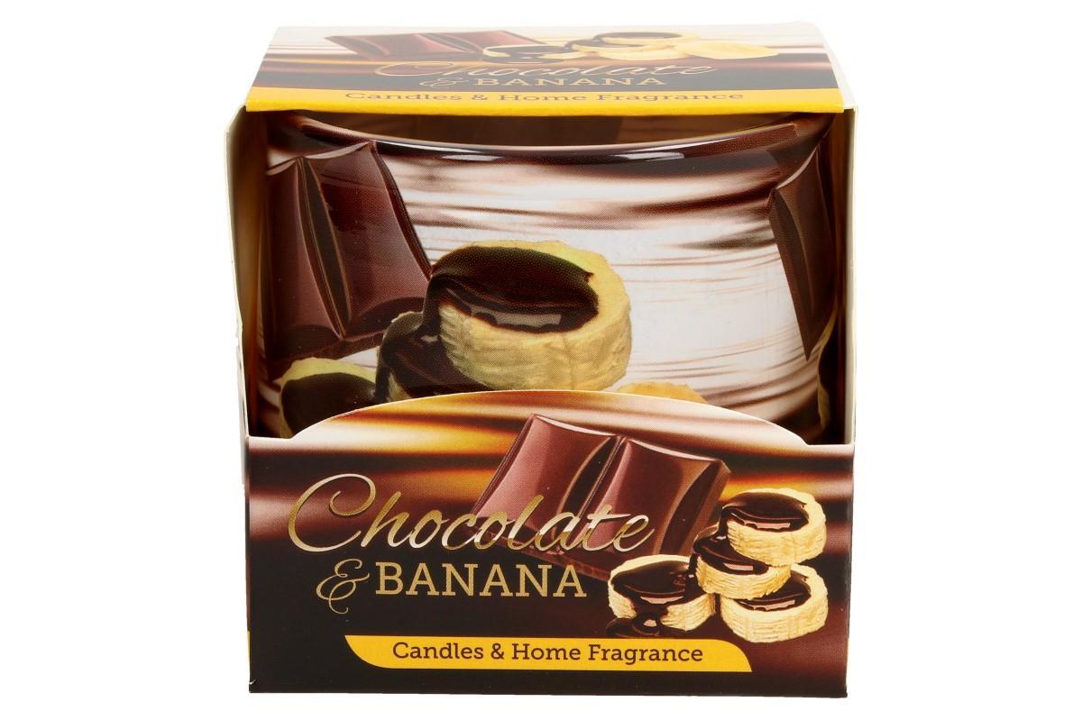 Foto 1 - Vonná svíčka banán s čokoládou dodá každému prostoru vůni domova, harmonii, relaxační atmosféru a pohlazení vaší nálady. Během chvíle vyvoní váš domov, kancelář i pracovnu. Svíčka vydrží hořet až 30 hodin.
