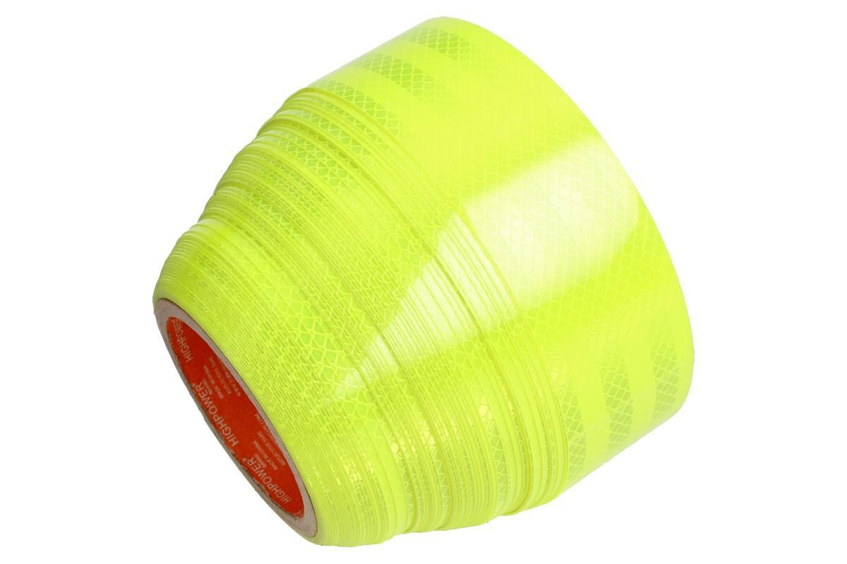 Foto 1 - Reflexní lepící páska 25m neonová žlutá Extrémně kvalitní a trvanlivý reflexní pruh samolepící pásky v neonově žluté barvě. Neonově žlutá páska odráží ve tmě světlo až do 50 metrů.