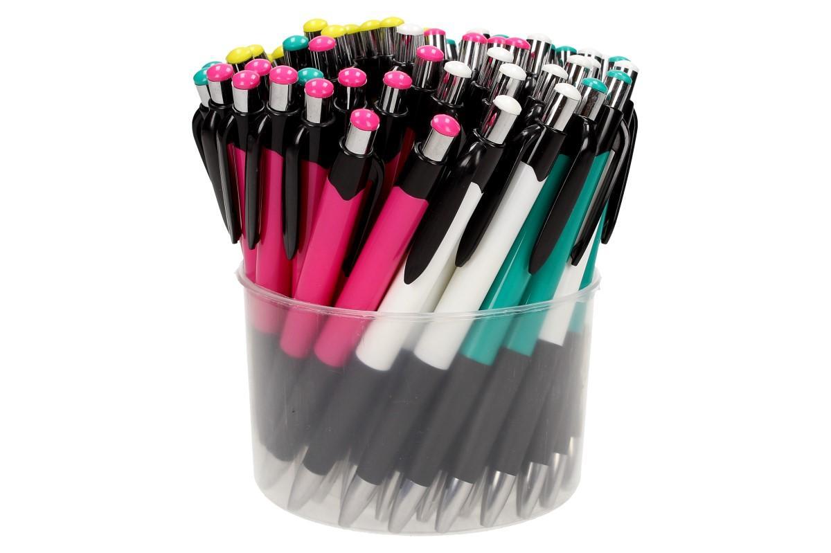 Foto 1 - Velká sada propisek 60 kusů v dóze v barevném provedení. Propisky jsou s modrou tuží a jsou celoplastové s gumovou rukojetí pro lepší uchopení v ruce při psaní.