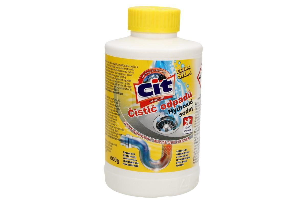 Foto 1 - CIT Čistič odpadů Hydroxid sodný 600 g je čistič na veškeré odpady s extra silným efektem. Dokonale vyčistí odpadní potrubí v domácnostech od usazenin tuků, vlasů, papírů i zbytků jídla.