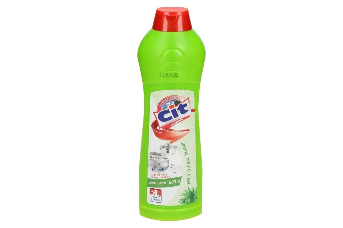 Foto 1 - CIT Jemný tekutý písek 600 g Aloe Vera je skvělý k účinnému čištění sporáků, van, dřezů, nádobí, obkladaček, pracovních ploch, apod. Tento výrobek má leštící účinky.