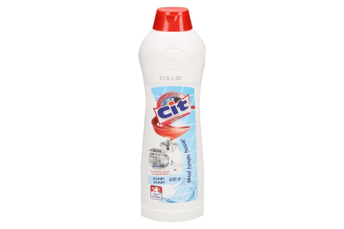 Foto 1 - CIT Jemný tekutý písek 600 g má leštící a ošetřující účinky. Kvalitní Český prostředek na nádobí, dřez, vanu, sporák, pracovní plochy, obklady, apod.
