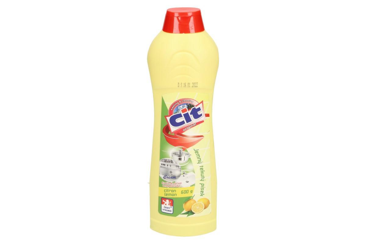 Foto 1 - CIT Jemný tekutý písek 600 g Citron čistí, leští a ošetřuje zároveň. Kvalitní Český tekutý písek na nádobí, dřez, vanu, sporák, pracovní plochy, obklady, apod. Vhodné pro vlhký i suchý hadr.