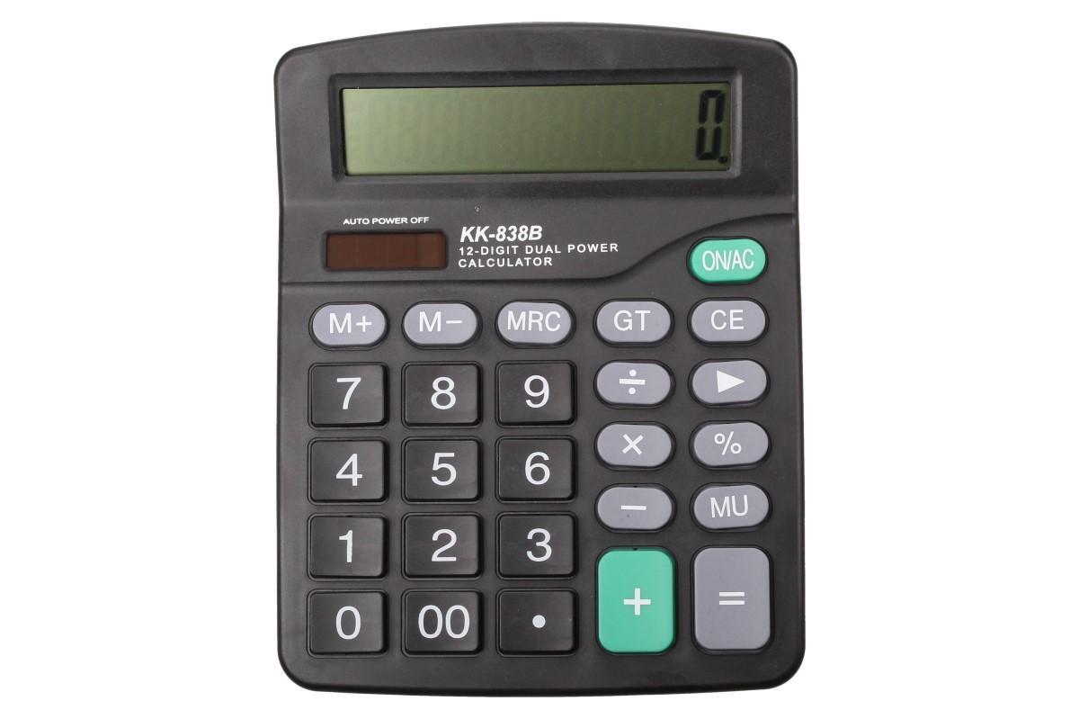 Foto 1 - Velká digitální kalkulačka KK-838B Profi stolní velká kalkulačka s 12ti místným displejem. Kalkulačka je velmi praktická při hodině matematiky, při účetnictví, v práci, ve škole i doma.