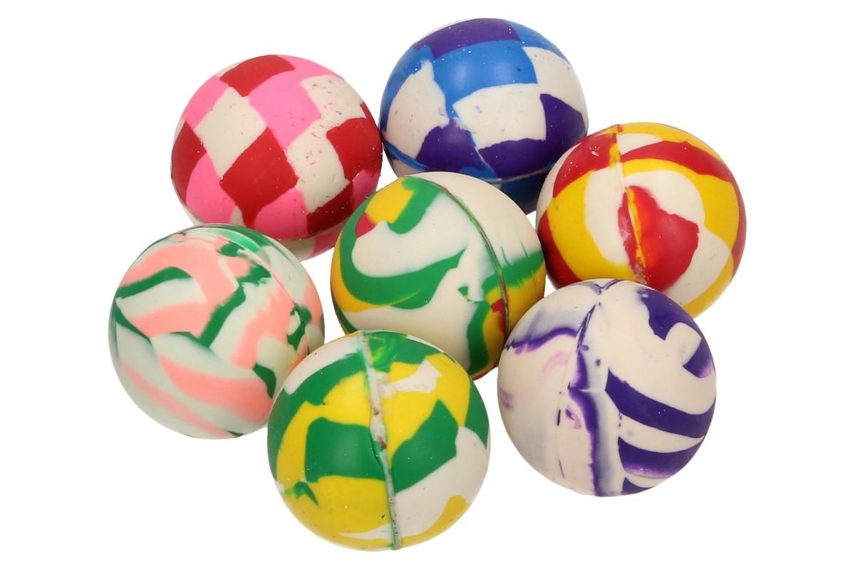 Foto 1 - Malý gumový skákací hopík žíhaný 2,5 cm Kvalitní latexový míček HOPÍK, ve kterém je vyobrazeno několik barev. Potěšte své malé ratolesti zajímavým míčkem, co skáče do výšky.