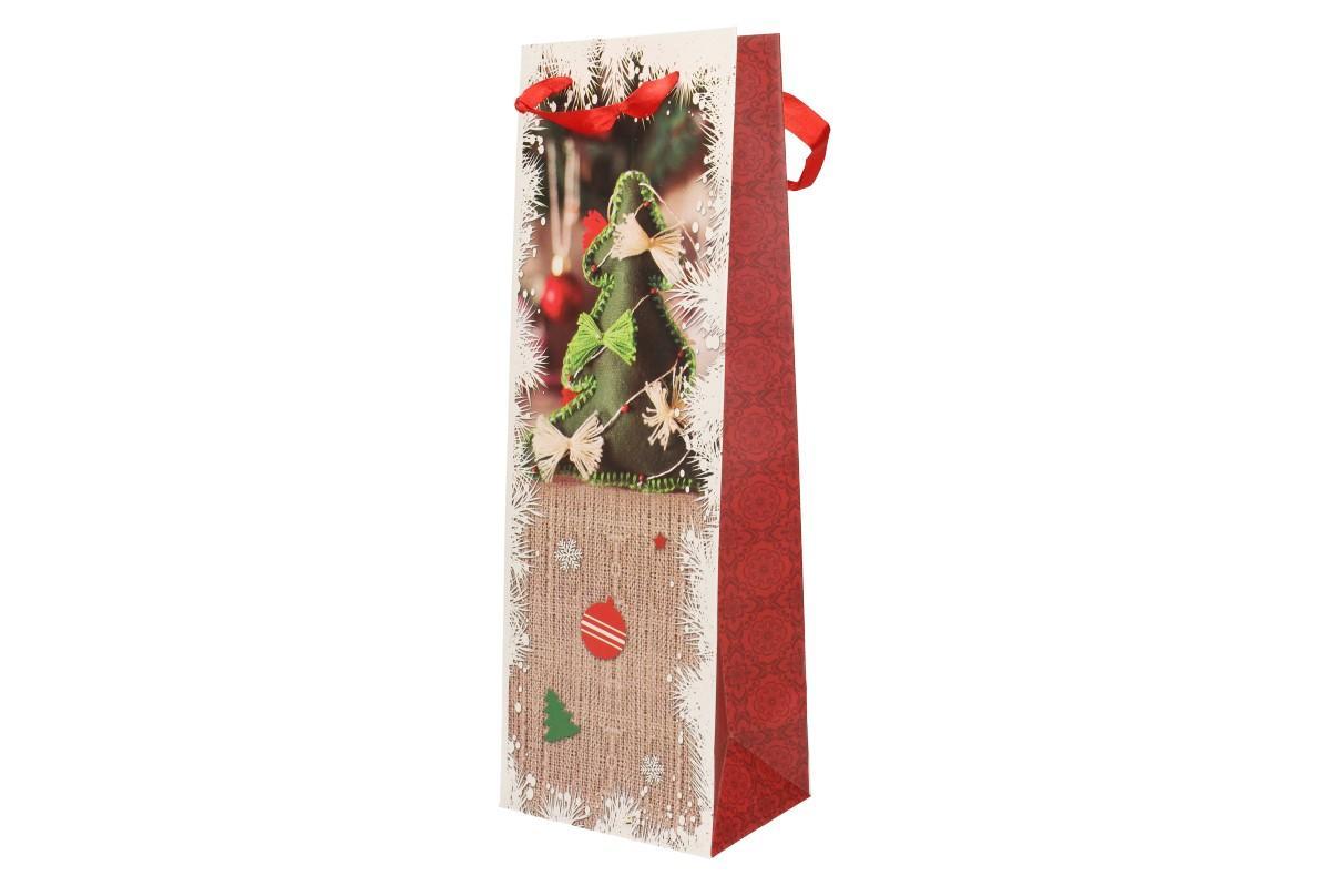 Foto 1 - Dárková vánoční taška na víno stromek 36x19 cm. Krásná, kvalitní dárková taška s pletenou vánoční ozdobou zaručeně potěší vás i vaše blízké.