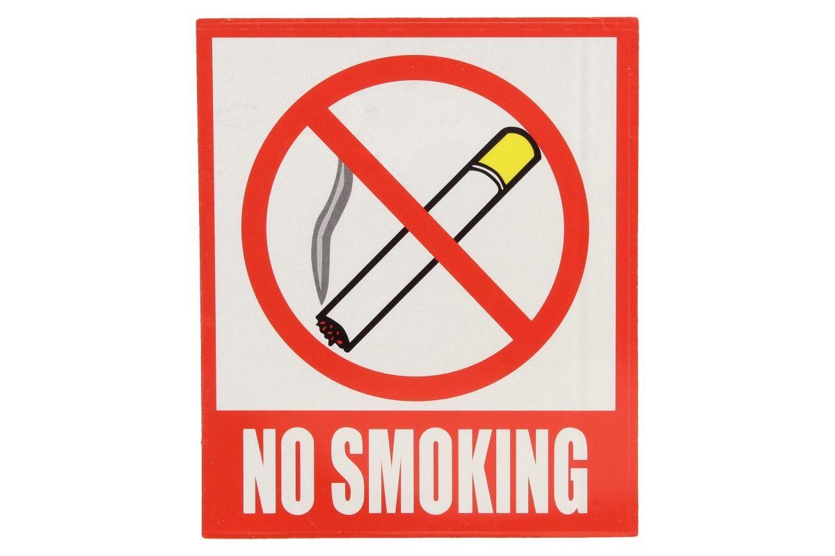 Foto 1 - Zákazová samolepka v anglickém jazyce. Je vhodná k označení místa kde se nesmí kouřit. Tato samolepka výrazně zvyšuje bezpečnost práce.