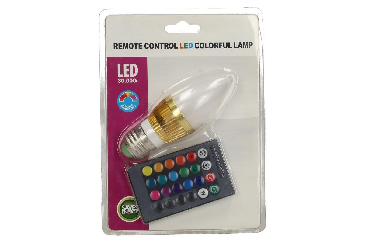 Foto 1 - LED úsporná žárovka RGB na dálkové ovládání 3W - je vhodná pro svítidla, které vyžadují nejpoužívanější závit E27 a vysoký světelný tok. Žárovka nabízí 16 RGB barevných kombinací, které měníte pomocí dálkového ovladače.