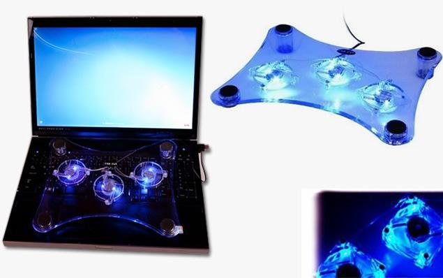 Foto 1 - Chladící podložka s LED podsvícením pod notebook - Chrání počítač před přehřátím, chrání i vás  a předměty v okolí notebooku před horkem,  prodlužuje jeho životnost a zvyšuje  jeho výkon.