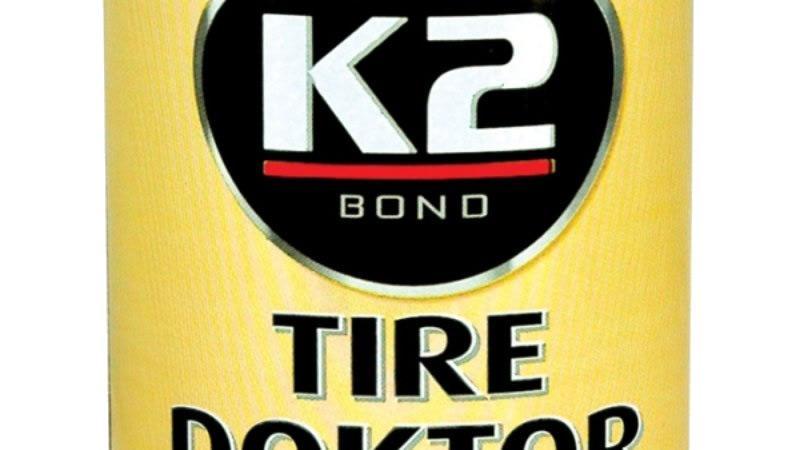 Foto 1 - K2 TIRE DOKTOR - Sprej na opravu pneumatik je Váš nejlepší přítel na cestách! Rychle a účinně utěsní propíchnutou pneumatiku bez demontáže a nářadí !