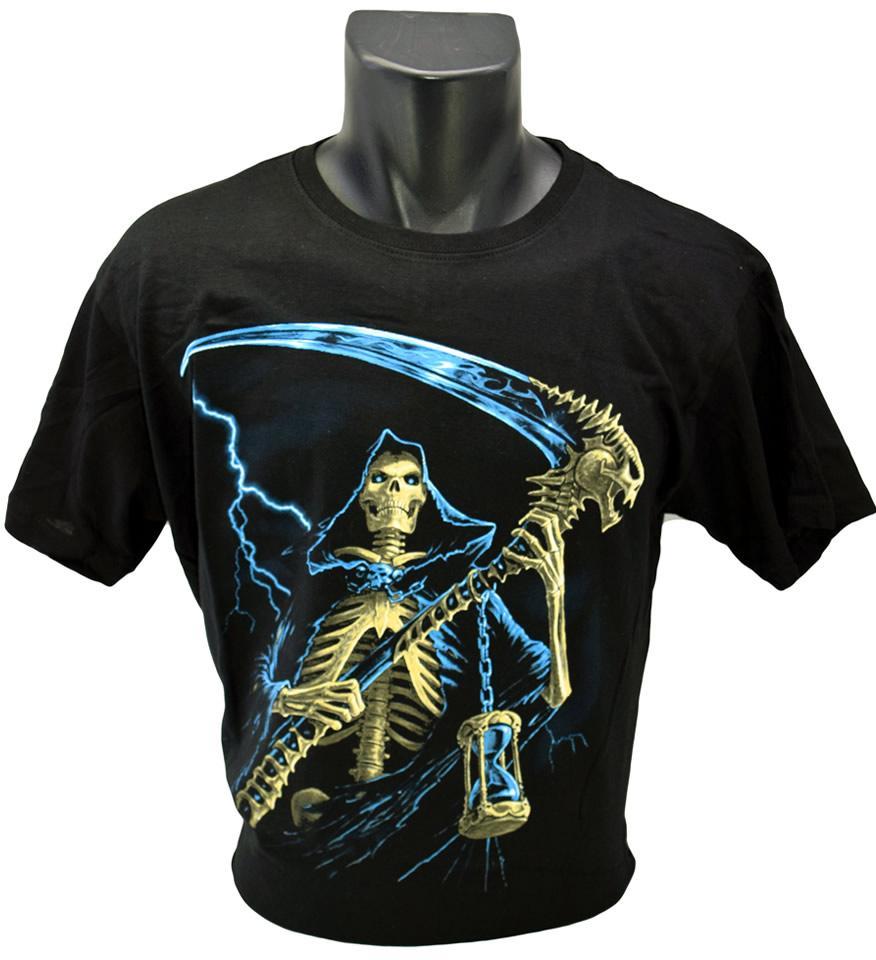 Foto 1 - Tričko Tričko kostlivec s kosou vhodné pro každodenní nošení a potěšení Vašeho okolí, kvalitní obrázek na tričku, vhodné nejen na motorku!
