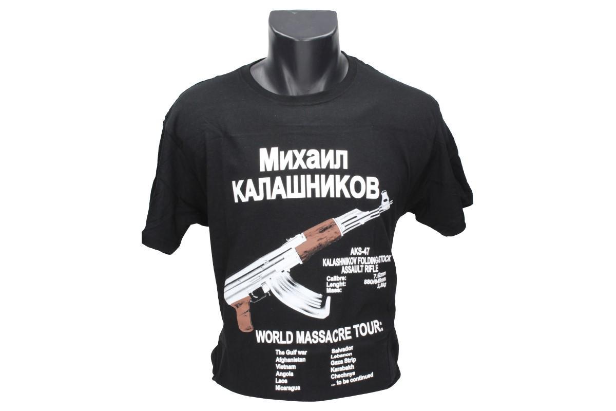Foto 1 - Tričko kalašnikov - je vhodné jako módní doplněk pro sběratele střelných nebo chladných braní, na tričku je nápis v ruštině