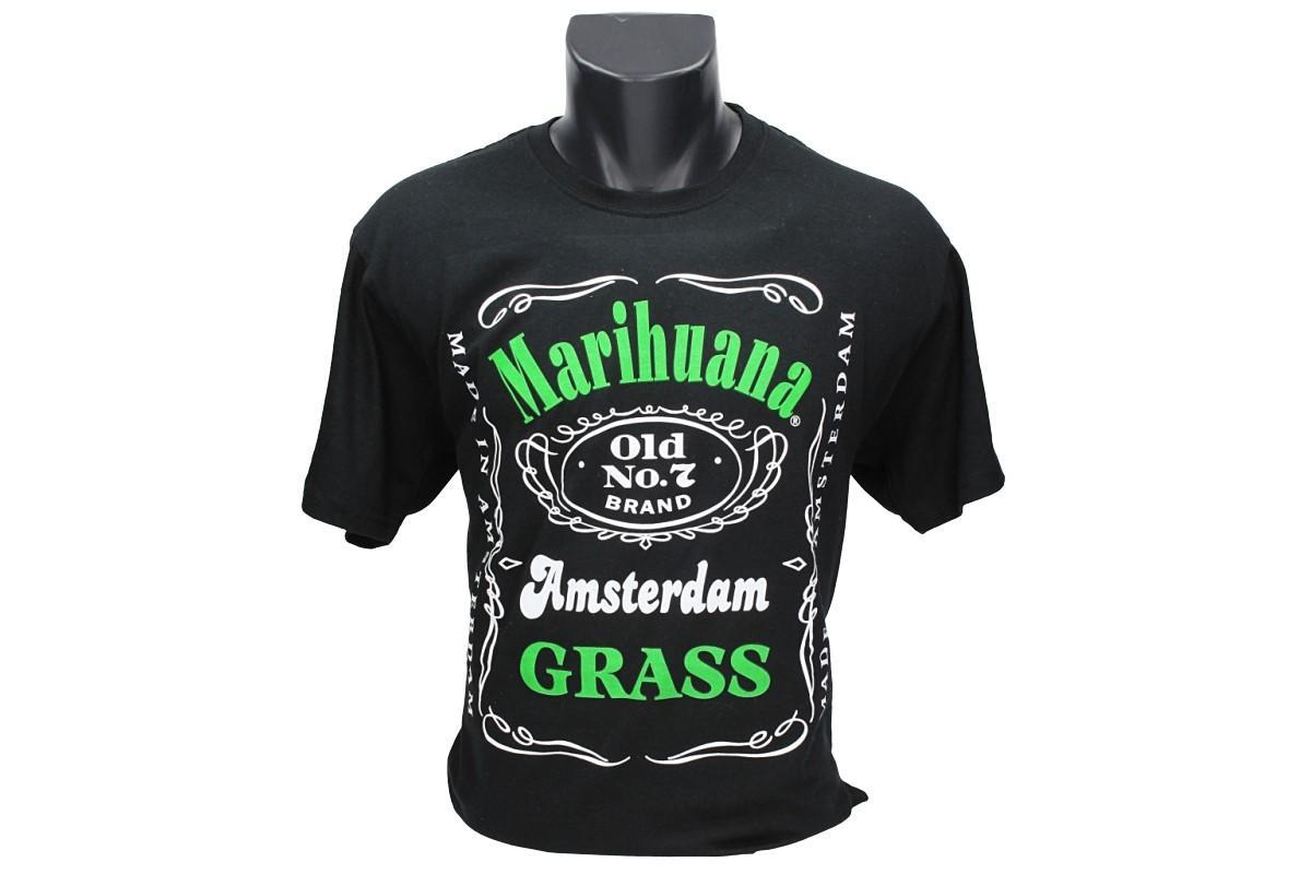 Foto 1 - Tričko Marihuana Amsterdam Grass - je tričko oslavující brand Marihuany v Amsterdamu, kde je tato droga povolená