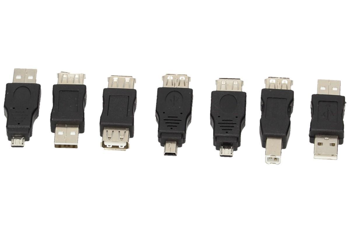 Foto 1 - USB redukce sada 7 kusů, hodí se každému, kdo doma nebo v práci má různá USB zařízení. Sada 7 kusů by měla vyřešit Váš problém s těmito zařízeními