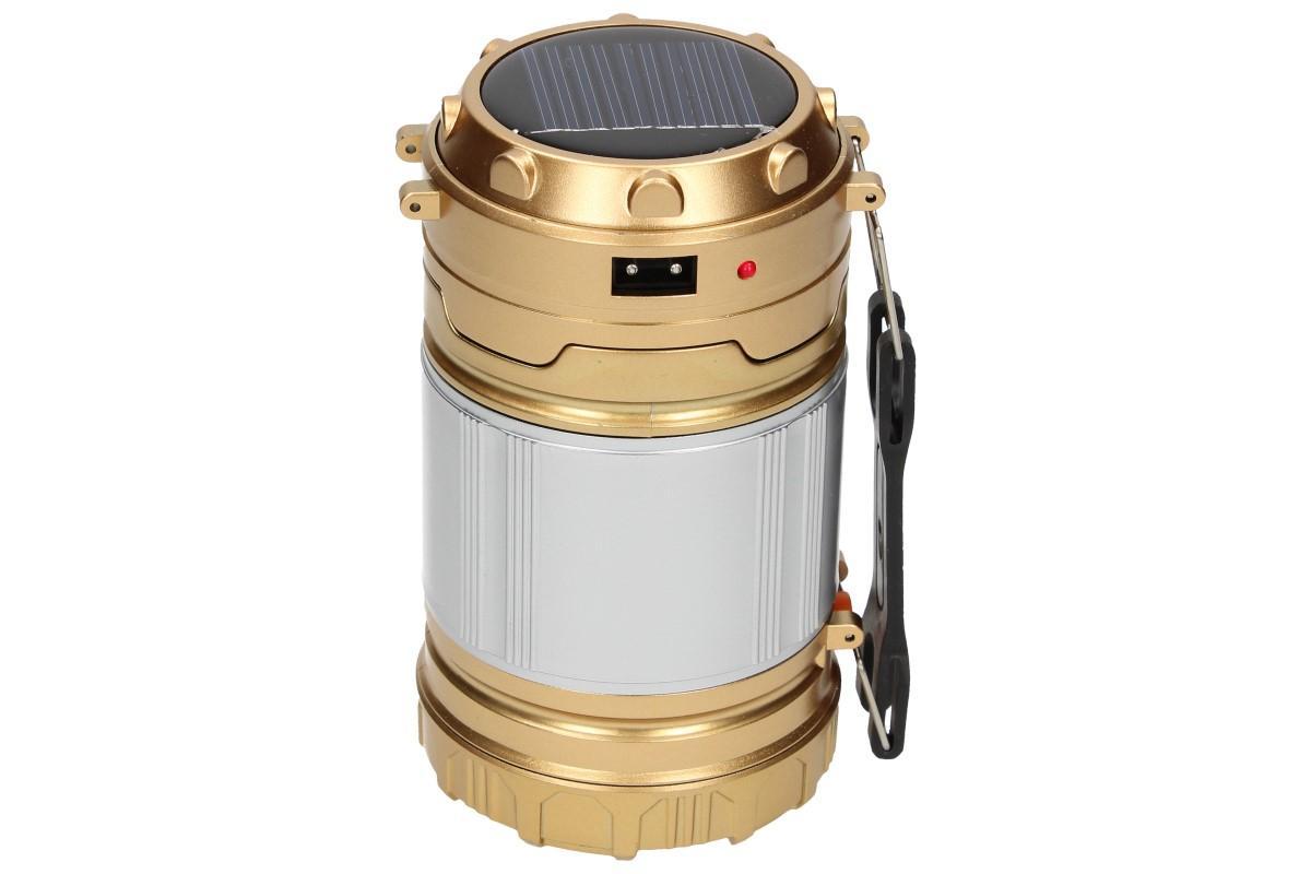 Foto 1 - Lampa pro kemping Profi + solární nabíječka 2v1 - Nabíjecí výsuvná lampa a solární nabíječka v jednom je velmi výkonné světlo, které se hodí na cesty, kempování v přírodě, pod stan nebo do chaty