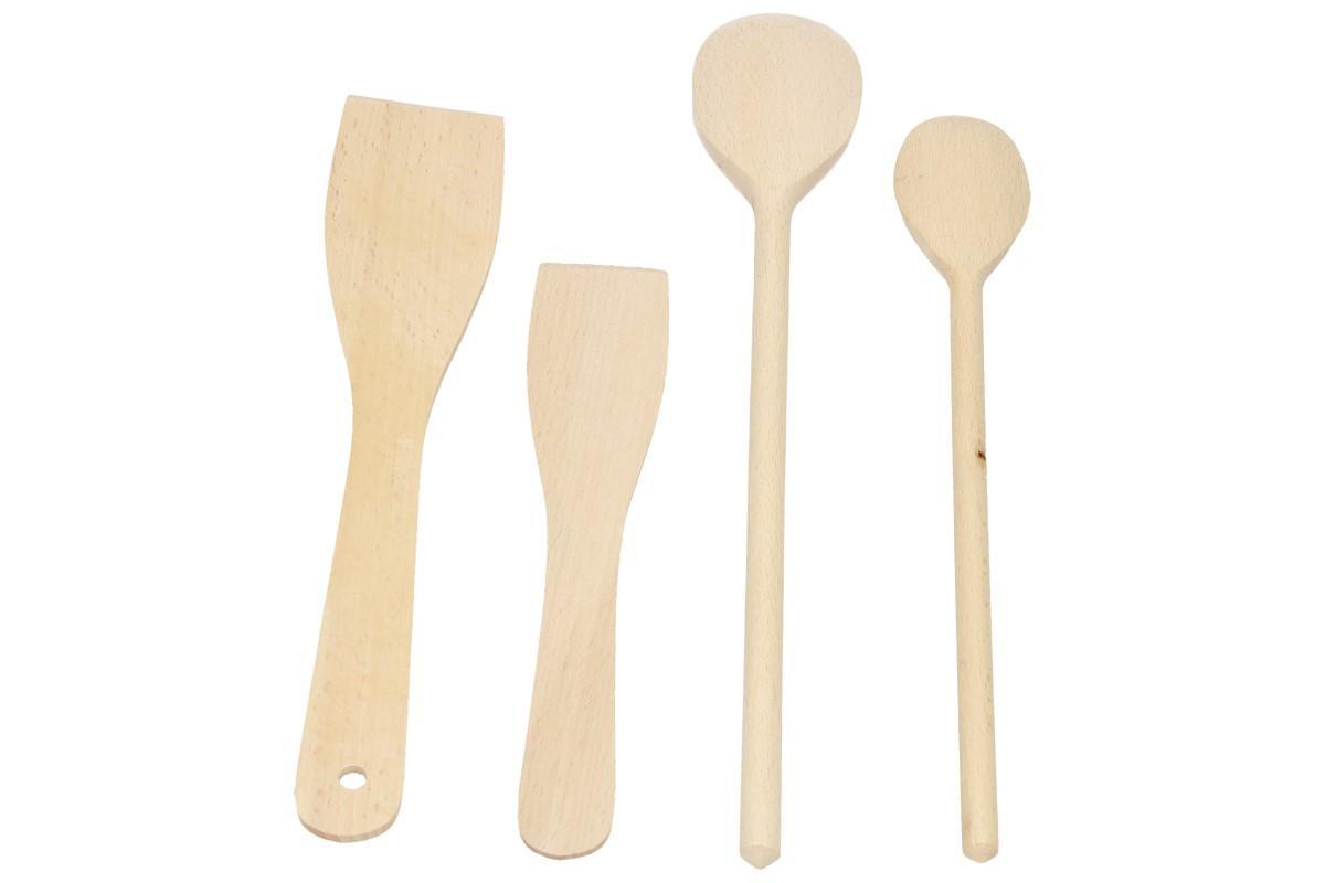 Foto 1 - Sada dřevěného náčiní 4 kusy - obsahuje 2 vařečku a 2x obracečku, náčiní je vyrobeno z přírodního tvrdého dřeva bez povrchové úpravy