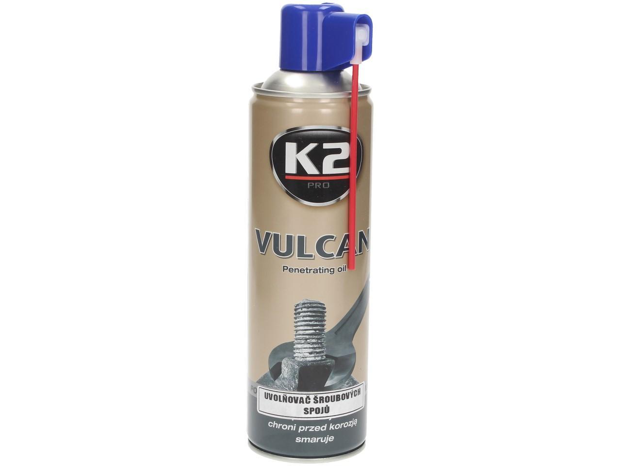 Foto 1 - K2 VULCAN 500 ml - přípravek na uvolňování zarezlých spojů (MOS2 s Graphitem a Cerflonem)  - díky speciální receptůře obohacené o syntetický graphit, MoS2 uvolní i ty nejvíce zarezlé šrouby či matice. Doporučujeme vyzkoušet!