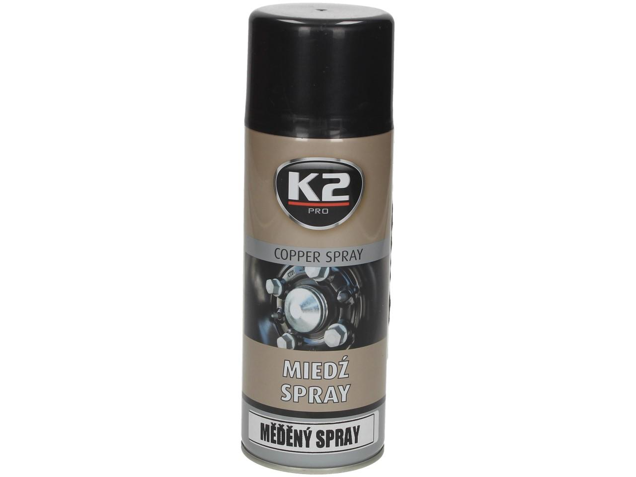 Foto 1 - K2 COPPER SPRAY 400 ml - měděný sprej snižuje tření kovových částí, aby se zabránilo oděru, vrzání apod. Šrouby, matice a ložiska chrání před korozí. Je odolný proti vodě. Zlepšuje těsnost šroubových spojů