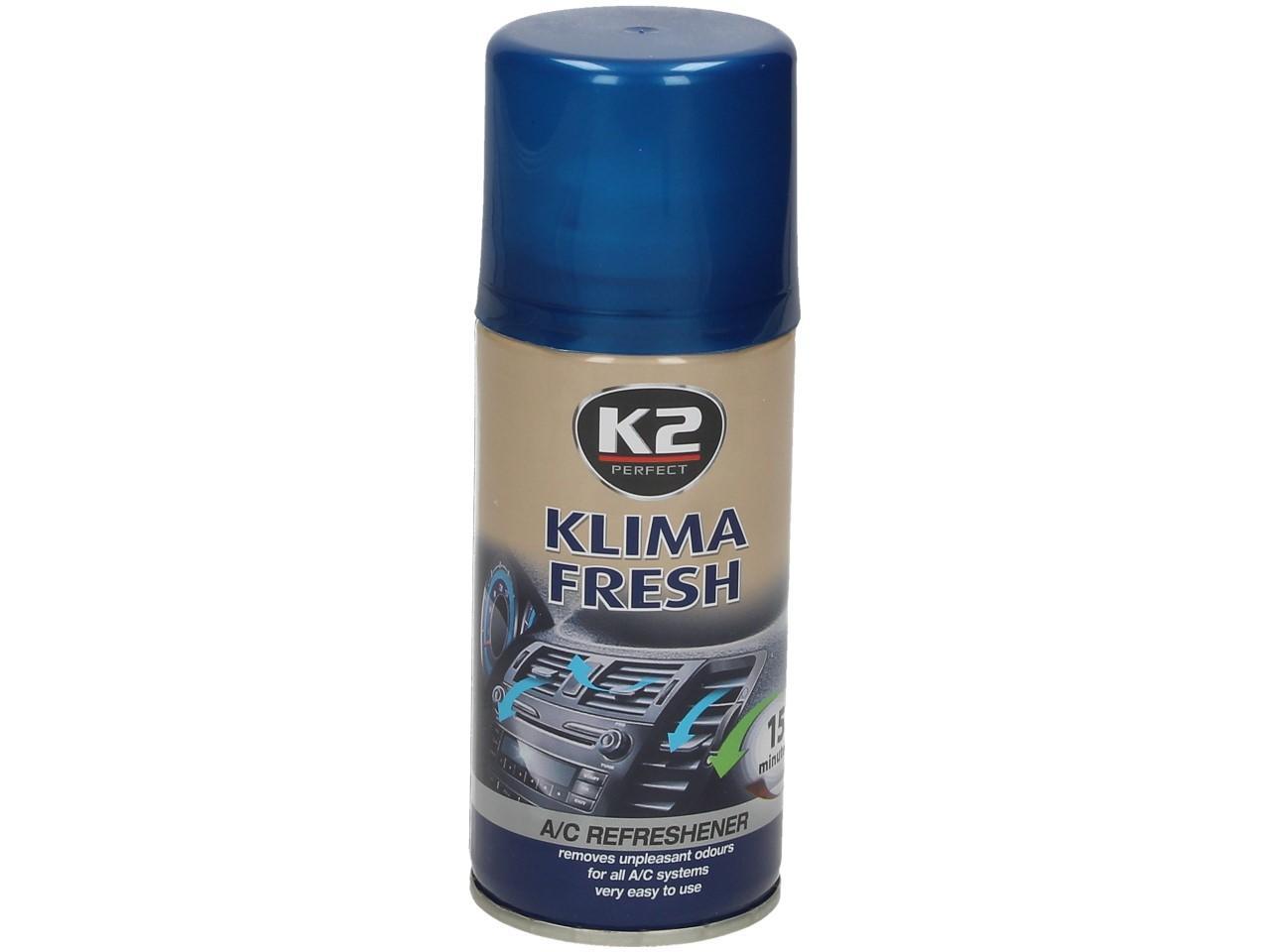 Foto 1 - K2 KLIMA FRESH 150 ml - osvěžuje vzduch interiéru vozu Vysoce efektivní a snadno použitelný prostředek pro osvěžení vzduchu ve vašem autě. Celý proces netrvá déle než několik minut. Vhodné pro použití do všech typů klimatizací