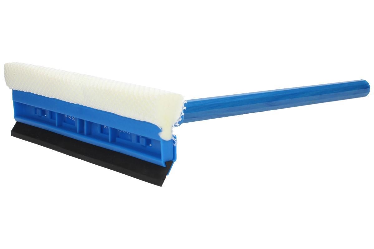 Foto 1 - Stěrka na okna s teleskopickou rukojetí 70 cm - o šířce 30 cm z jedné strany vybavena gumou a druhé molitanem v síťovině pro pohodlné nanášení čistící tekutiny
